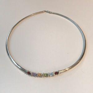 Jewelry - Sterling Silver omega w/ semi precious necklace